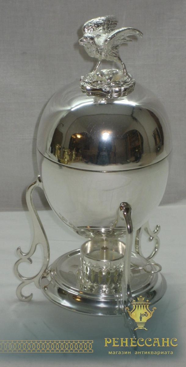 Яйцеварка с птичкой покрыта серебром Br. Buch Варшава 19 век №1217