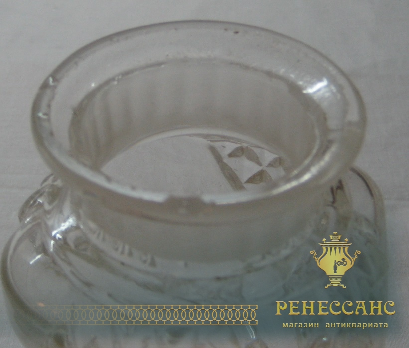 Чайница с крышкой старинная стеклянная №1224