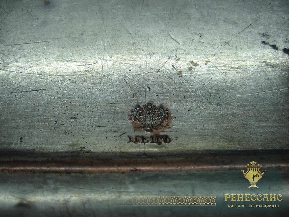 Поднос медный с ручками мастер «Пецъ» Россия 19 век №988