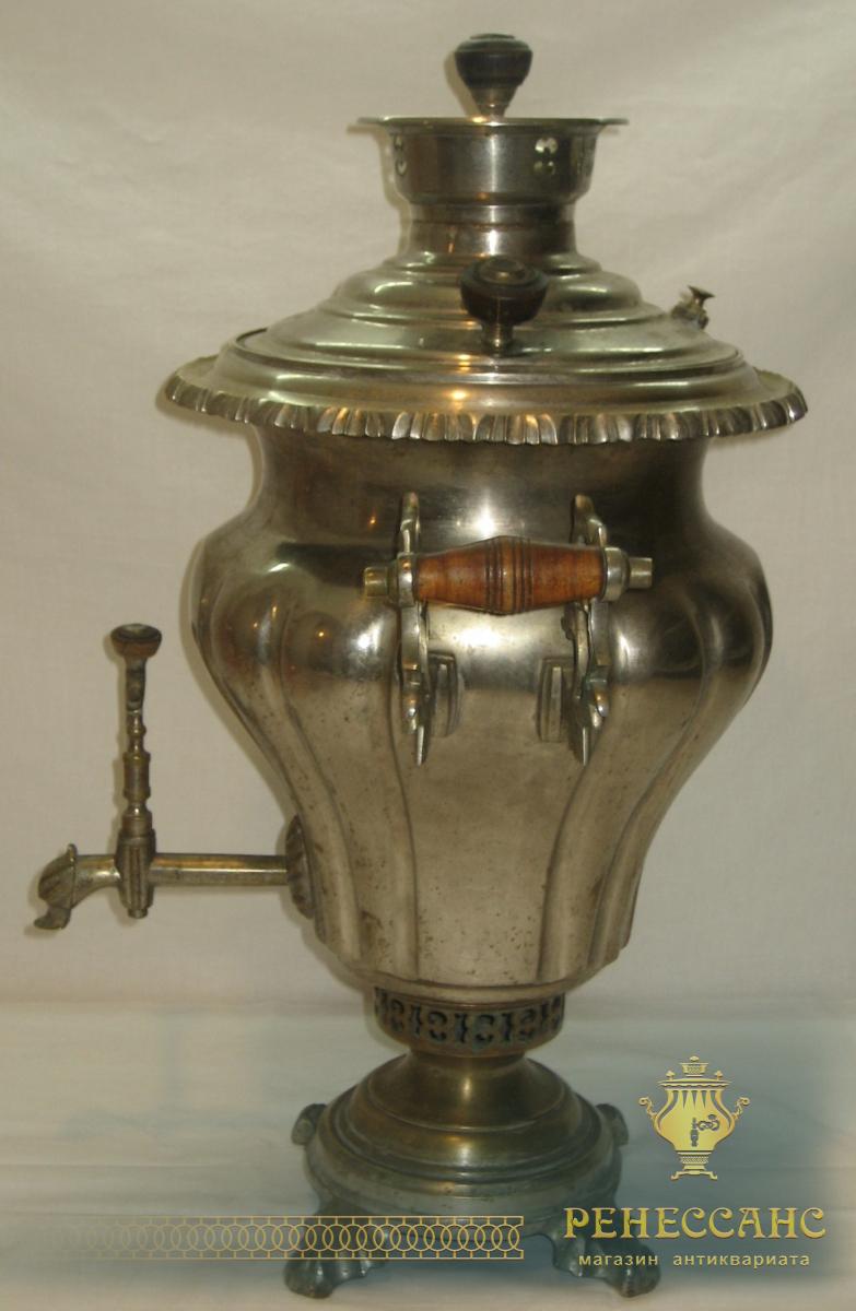 Самовар угольный «груша», никелировка, витые ручки, на 5 литров, «П. Рассказов», 1920-е годы №592