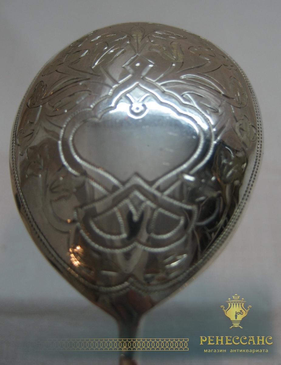 Ложки серебряные, ложка десертная, набор из 6 штук, 84 проба, Россия 1888 год №2110
