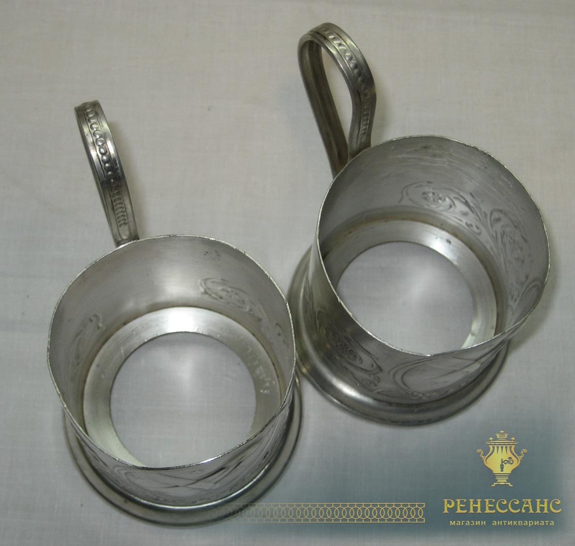Подстаканники парные «спутник», серебрение, СССР №2148