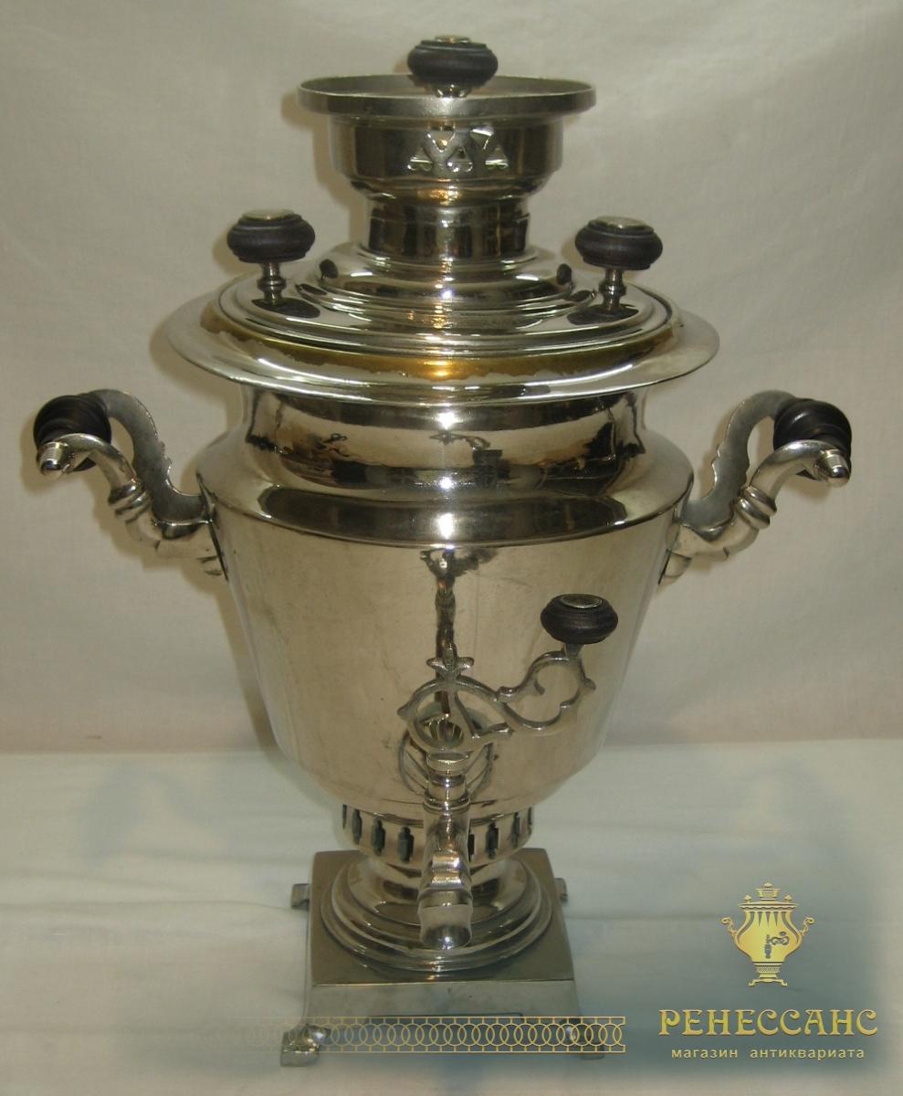 Самовар угольный «рюмка», на 2 литра, никелировка, «В.М. Гудков» №641