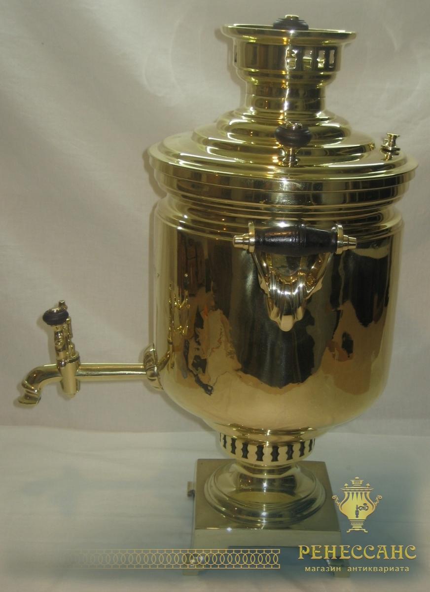 Самовар угольный «банка», латунный, с медалью, на 7 литров, «ТПЗ» №648