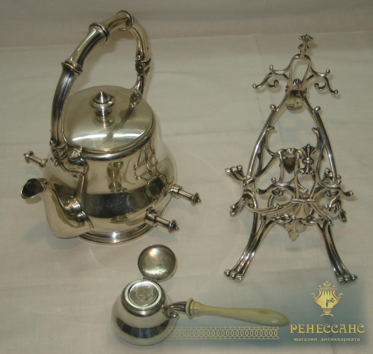 Бульотка старинная, на 1 литр, серебрение, Европа, начало 20 века №2213