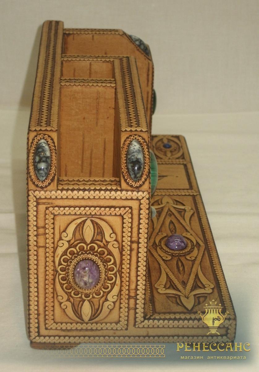 Органайзер из бересты, украшен камнями, ручная работа №2236