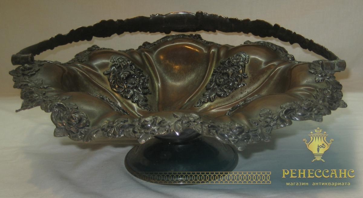 Фруктовница, ваза, конфетница, серебряный бордюр, «Эмме» Москва 19 век №2329