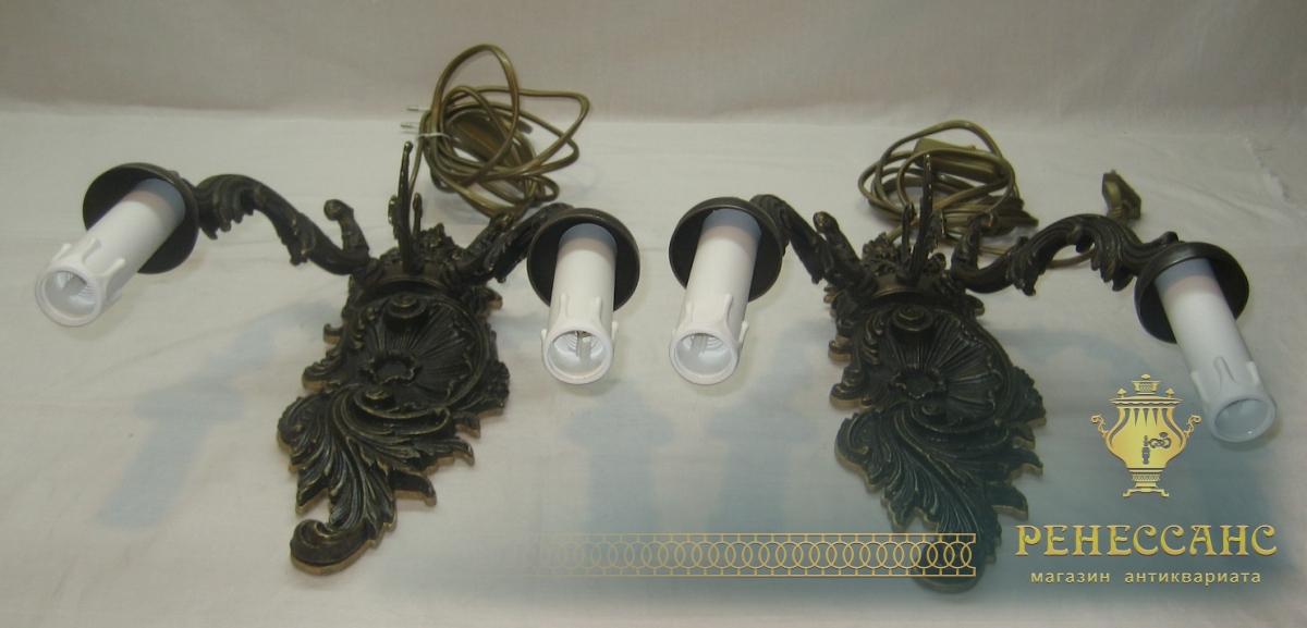 Светильники парные бронзовые, бра №2350
