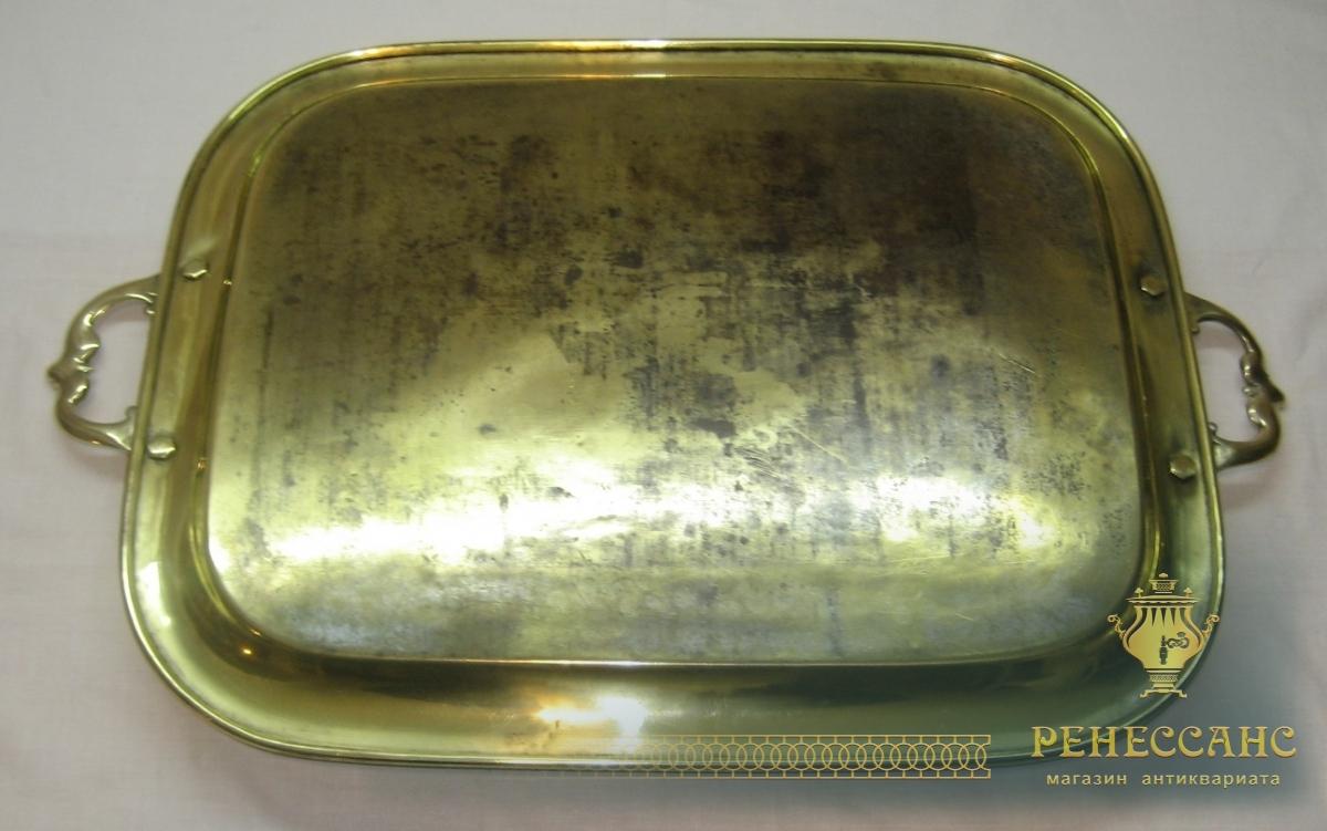Поднос с ручками старинный, латунь, «Матисен» Москва 19 век №2341