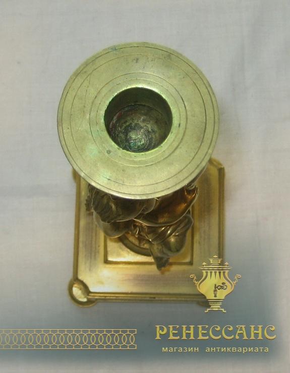 Подсвечник старинный, бронзовый, с позолотой, «Путти» №2339
