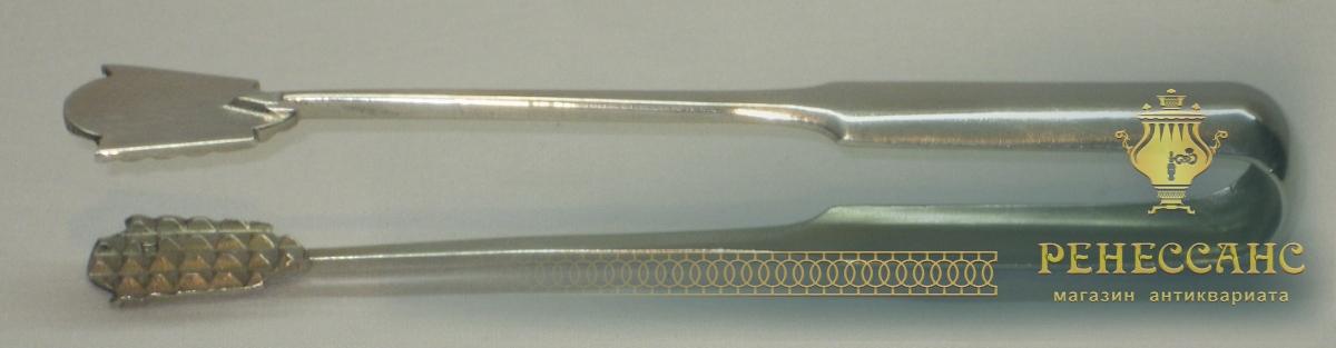 Щипцы старинные для сахара, серебро 84 пробы, модерн №2408