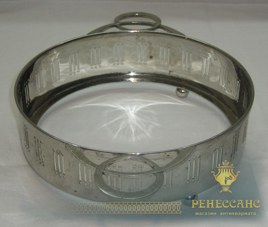 Конфетница старинная, никелировка, стиль «Ар-деко» №2413