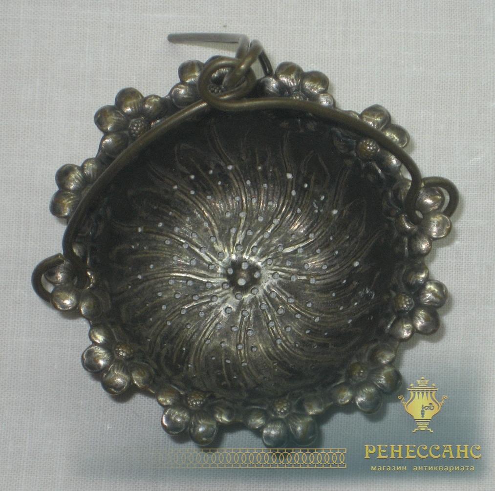 Ситечко старинное, серебрение, модерн, 19-20 век №2479