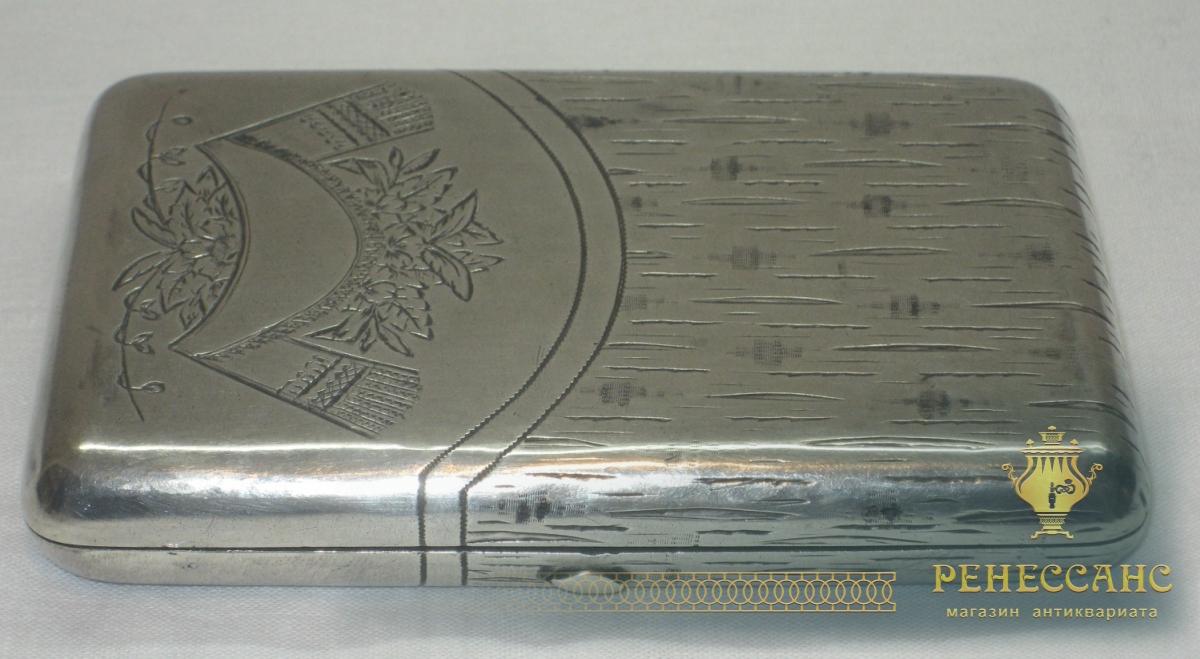 Портсигар старинный, серебро 84 пробы, русский стиль, Россия 1896 год №2504