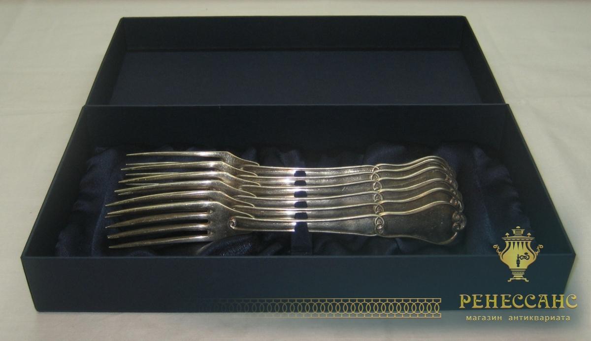 Вилки столовые, серебрение, 6 штук, Fraget Варшава 1850 год №306