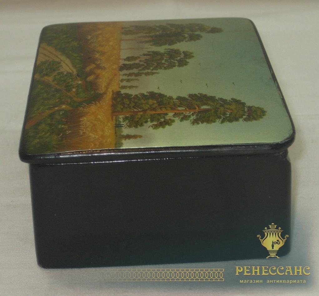 Шкатулка старинная «Рожь», живопись, «Федоскино 1968 год» №2515