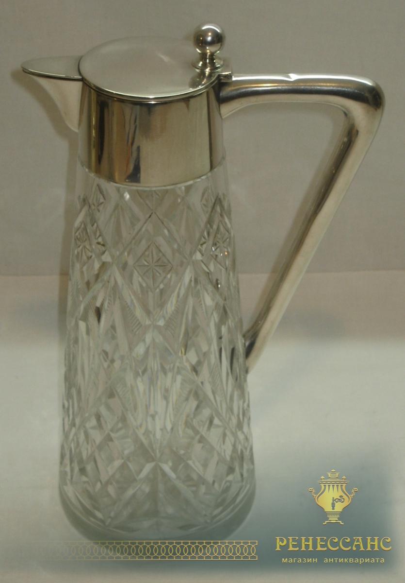 Кувшин, графин старинный, хрусталь, серебро 800 проба, Европа 19-20 век №1637