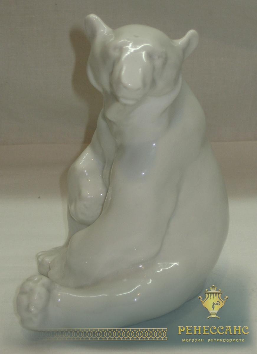 Статуэтка «белый медведь», фарфор, СССР №2480
