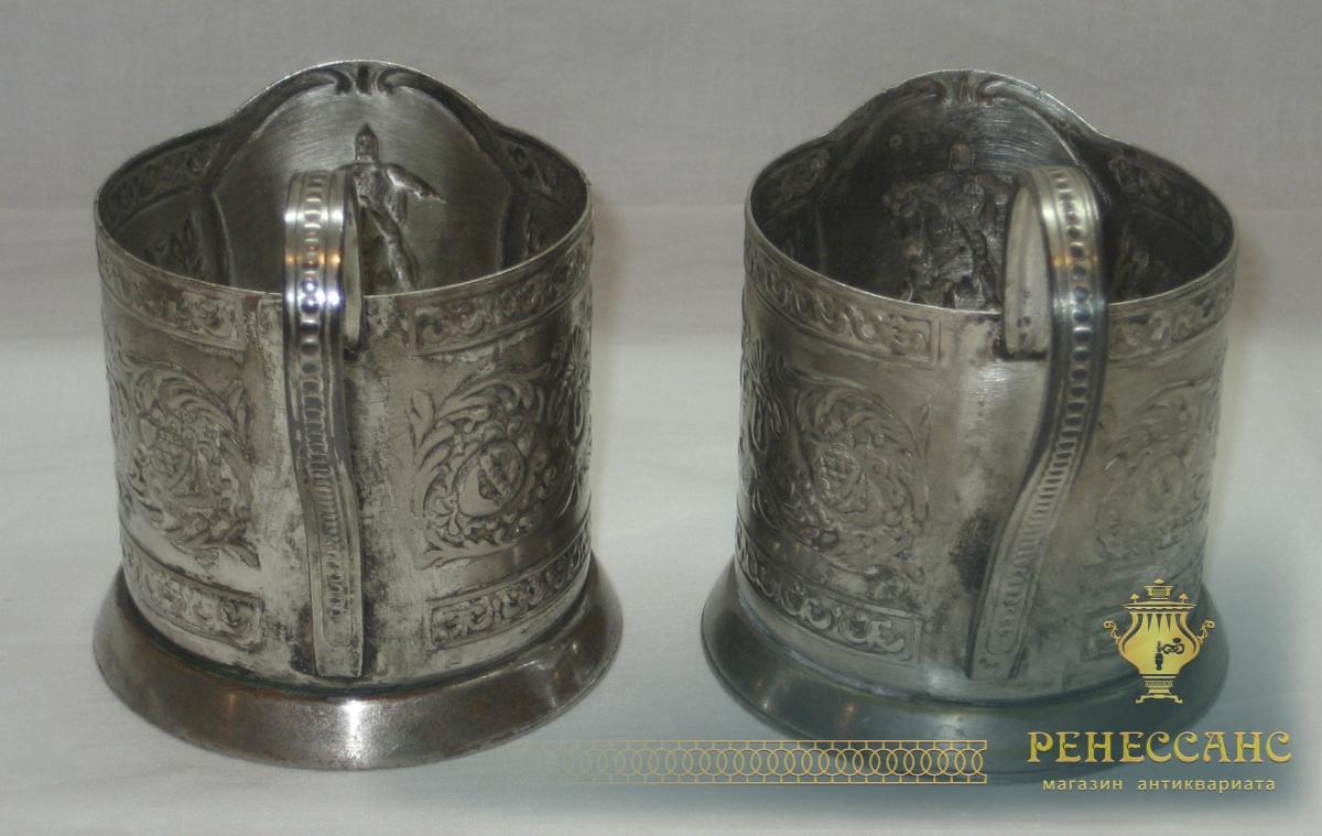 Подстаканники парные «Юрий Долгорукий», серебрение, СССР №2596