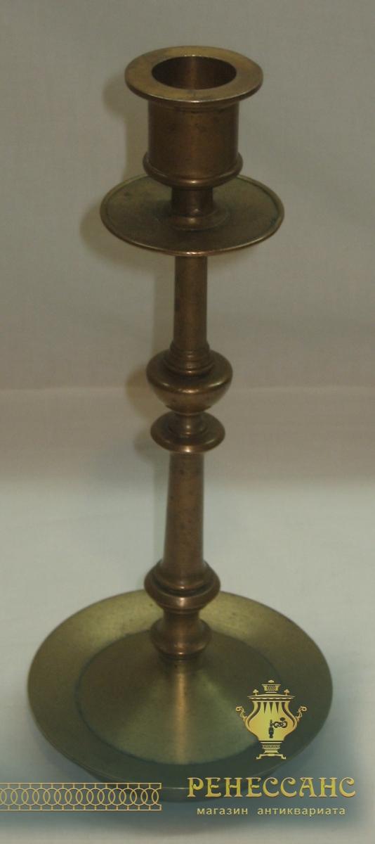 Подсвечник старинный томпаковый, 19 век №2612
