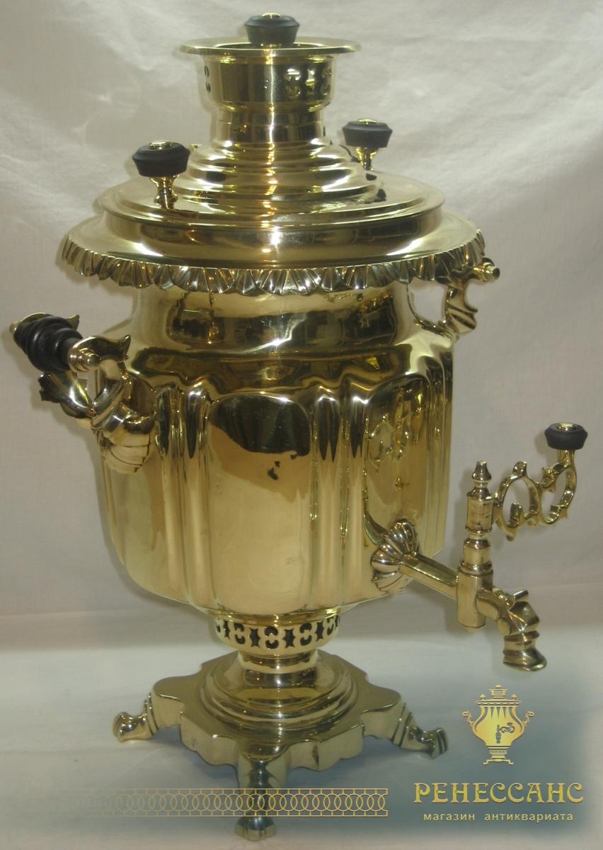 Самовар старинный угольный «фонарь», на 5,5 литров, «М. Слиозберг» 19 век №731