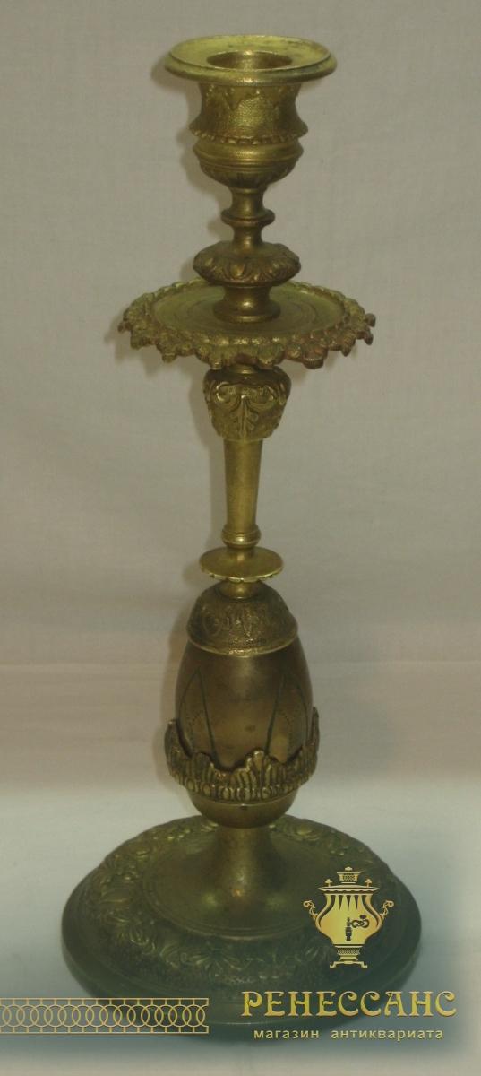 Подсвечник пасхальный, с яйцом, бронза, 19 век №2618