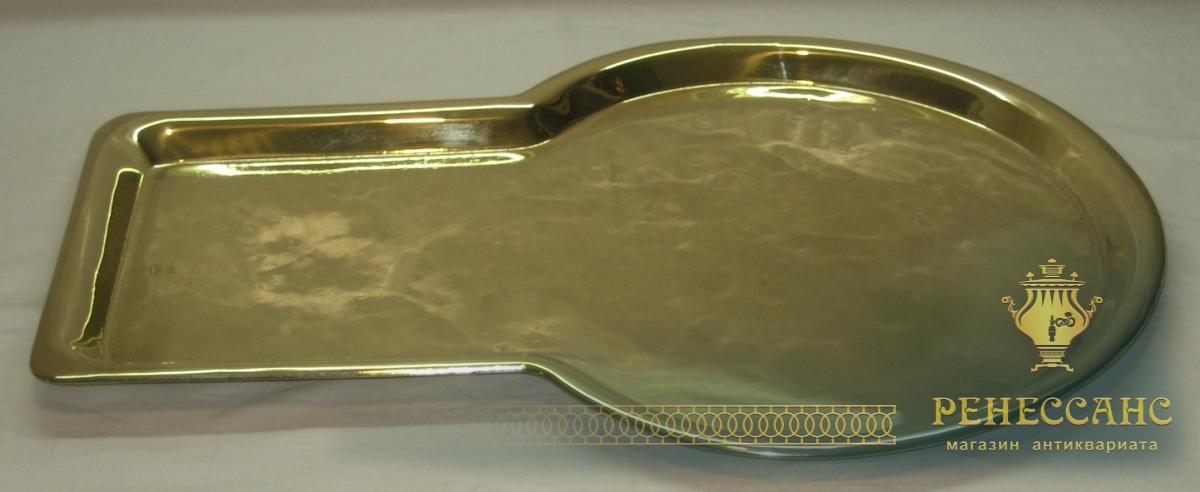 Поднос с кругом под самовар, латунный, «Т.К.» Россия 1920-е годы №2667