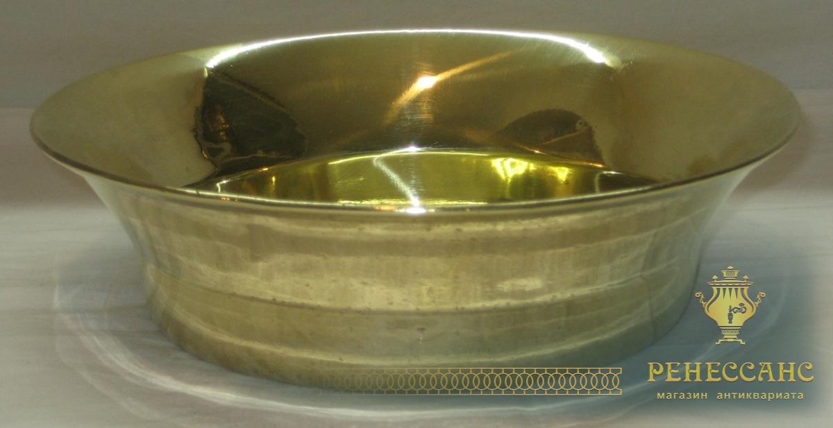 Полоскательница старинная, миска, тазик латунный №2676