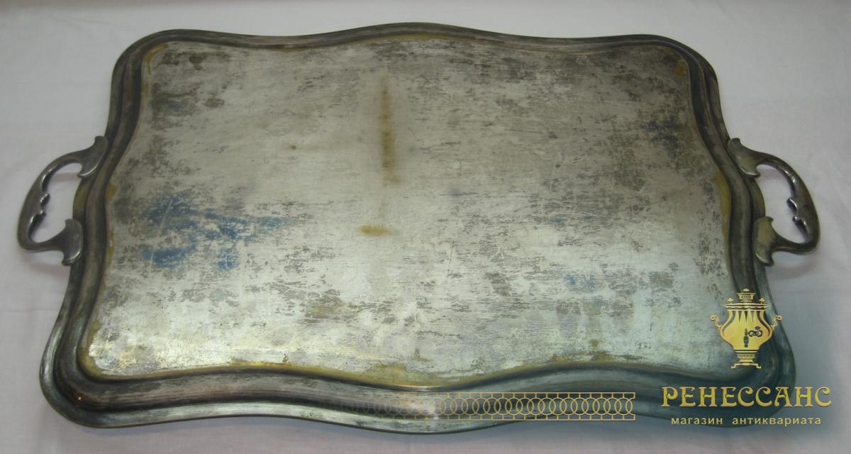 Поднос старинный, с ручками, «GP» 19 век №2709