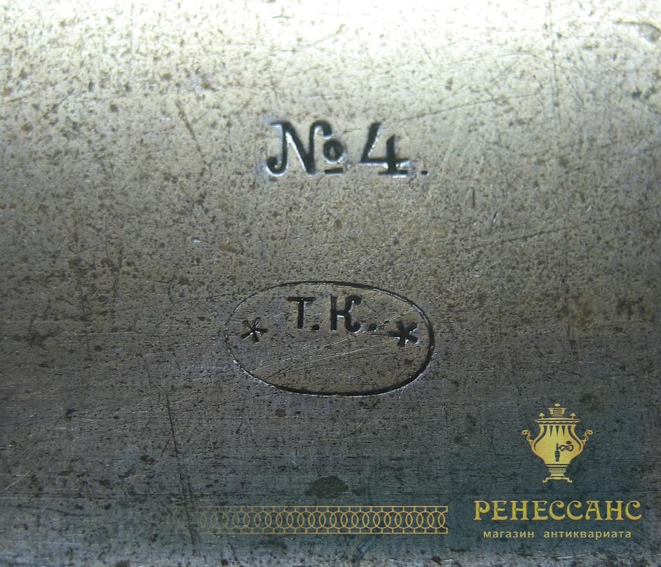 Поднос старинный прямоугольный «Т.К.» Россия 1920-е годы №2717