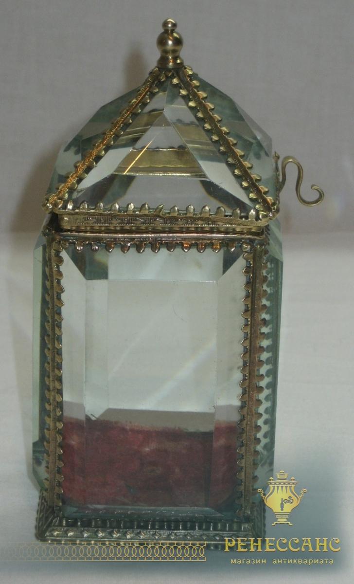 Ларец старинный, шкатулка, стекло, 19-20 век №2737