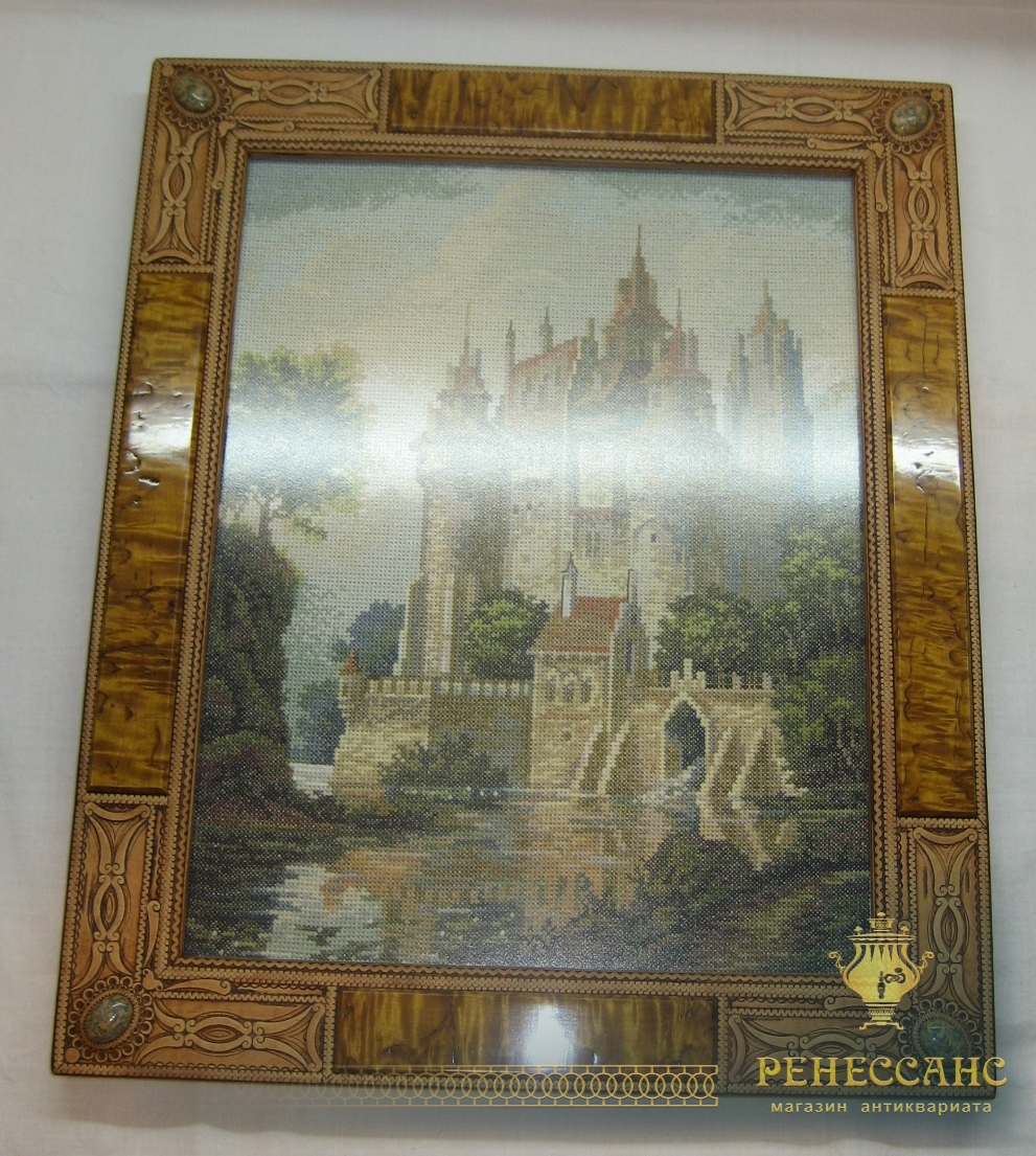 Картина «Замок», вышивка, рама из бересты №2739