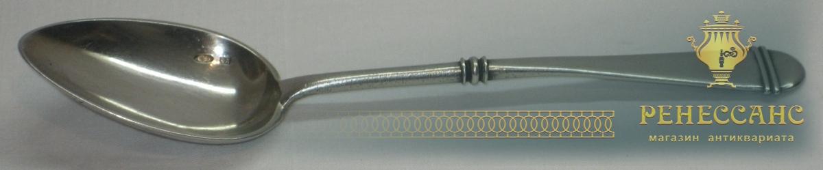 Ложка десертная старинная, серебро 84 пробы, модерн №2641