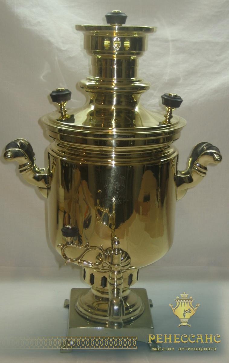 Самовар старинный угольный «банка» с медалью, на 3,5 литра, «Б.Г. Тейле» 19 век №755