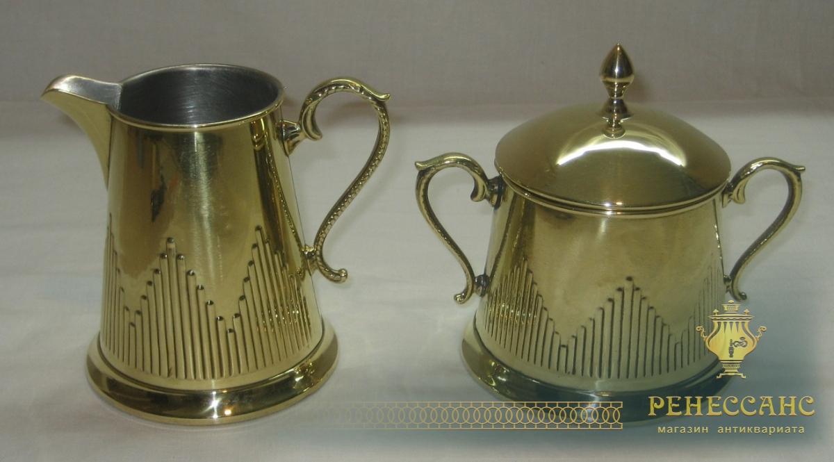 Сахарница со сливочником, латунь, Европа 19-20 век №2754