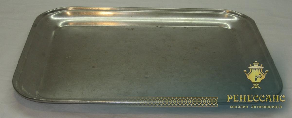 Поднос старинный прямоугольный, никелировка, «Т.К.» 1920-е годы №2779