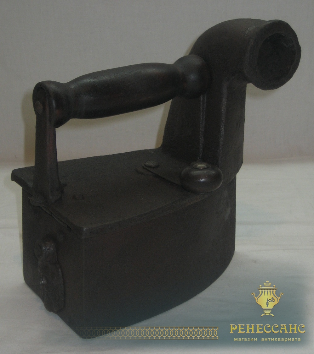 Утюг угольный старинный с трубой, чугун, Россия 19-20 век №2797