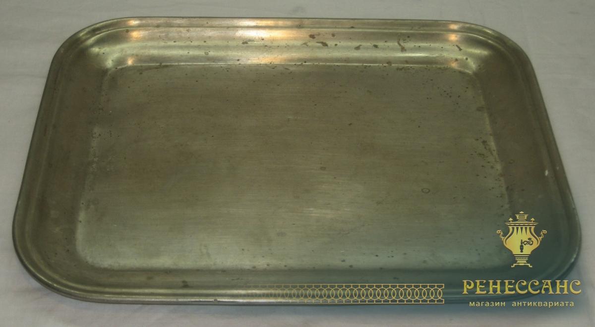 Поднос старинный прямоугольный, мельхиор, «Товарищество Кольчугина» 19 век №2799