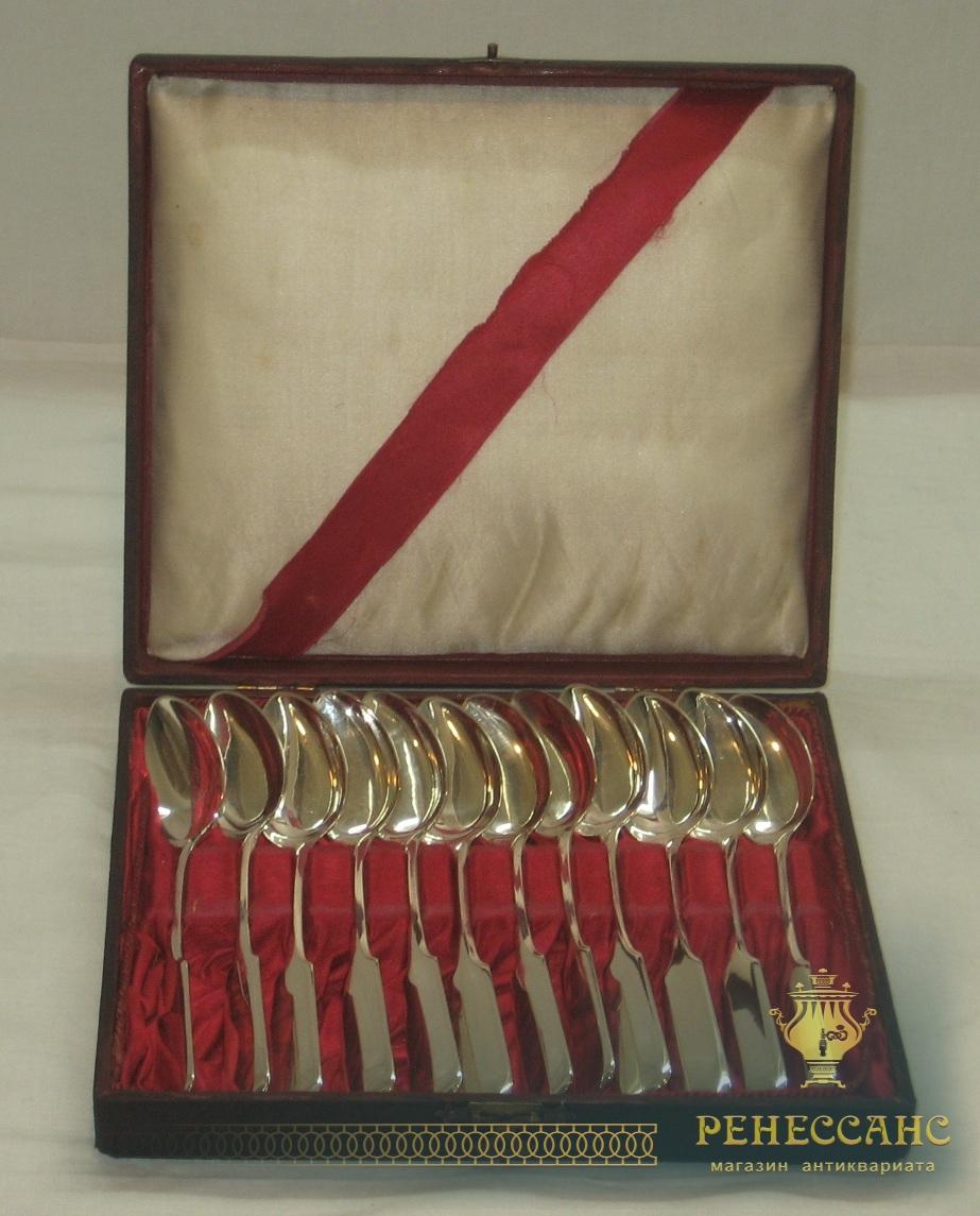 Ложки чайные, набор из 12 штук, серебро 84 пробы, Россия 19 век №2807