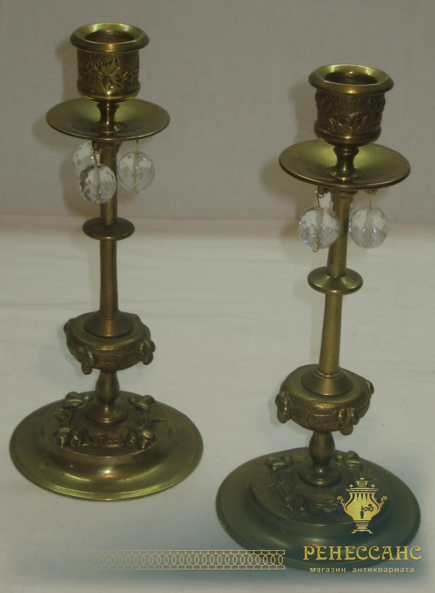 Подсвечники старинные парные, литье, 19 век №2809