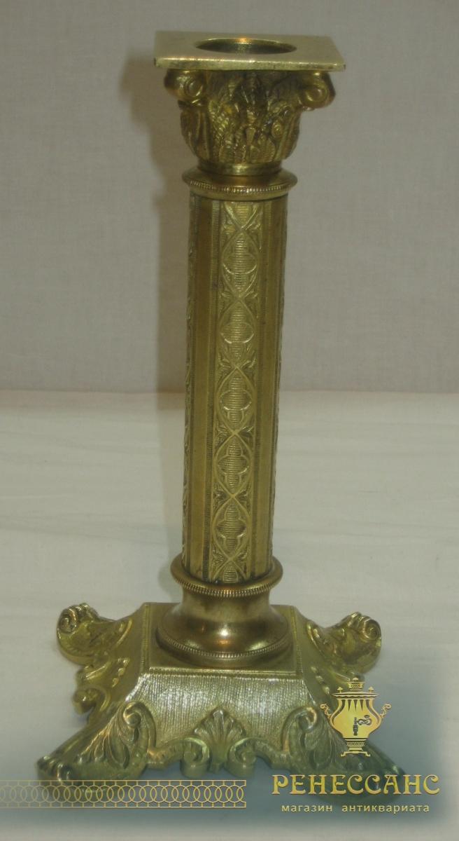 Подсвечник старинный из бронзы, 19 век №2815