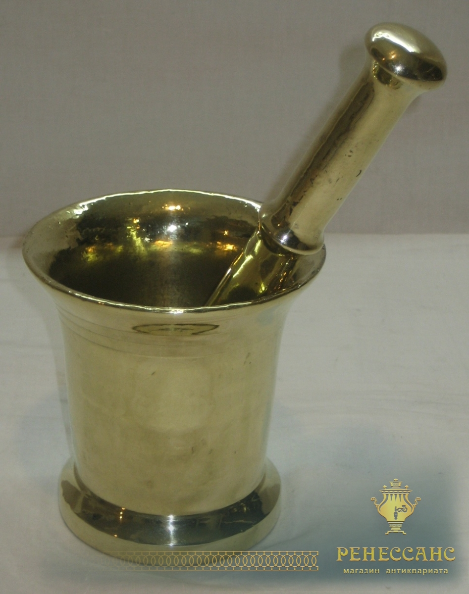 Ступа бронзовая старинная, ступка с пестиком №2818