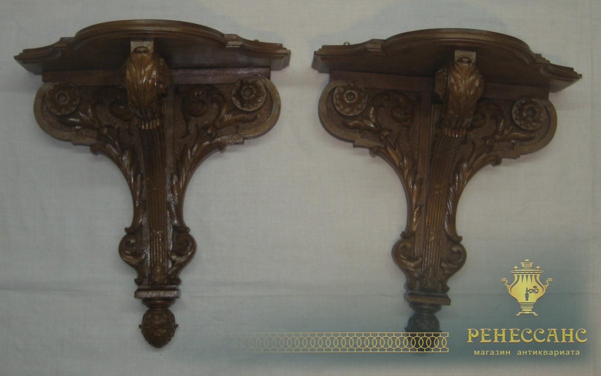 Полочки парные старинные, орех, Россия 19 век №2820