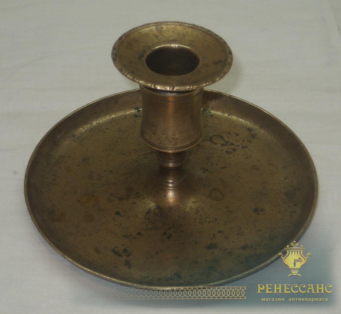 Подсвечник старинный томпаковый, Россия 18-19 век №2825