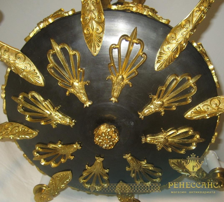 Люстра старинная из бронзы «Колибри», золочение, 19 век №2040