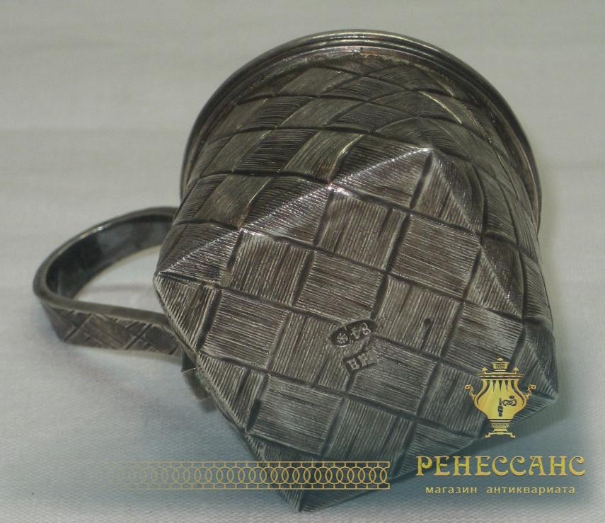 Чарка старинная «лыко» из серебра 84 пробы, Россия 19 век №2888