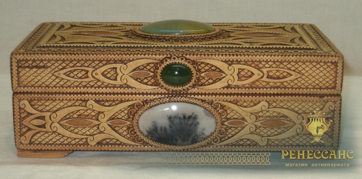 Шкатулка из бересты с натуральными камнями №2937