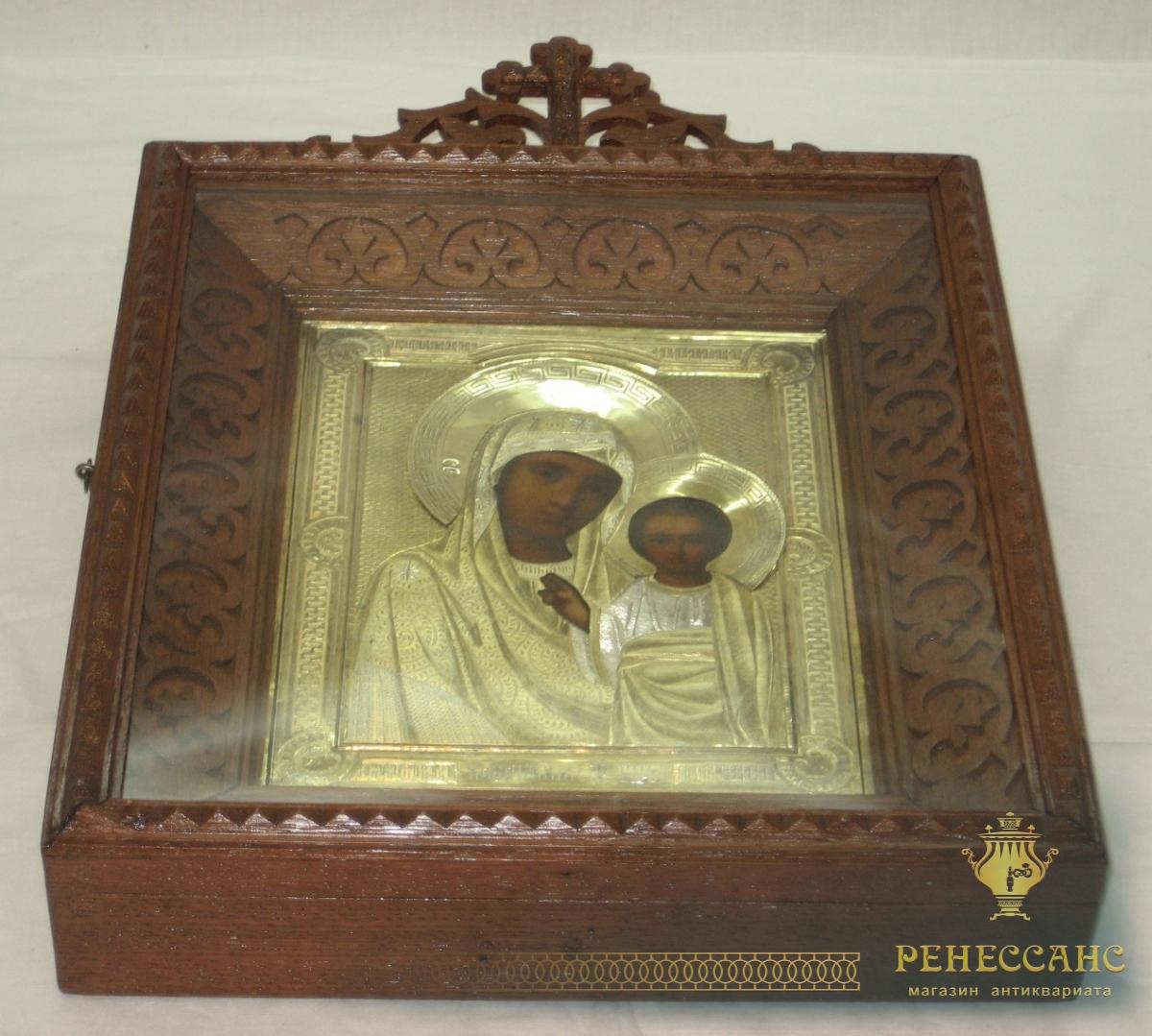 Икона «Казанская Богородица» в киоте, серебро 84 пробы, 19 век №2264