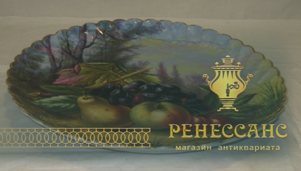 Блюдо старинное, панно «Фруктовый натюрморт», фарфор, Европа 20 век №3100