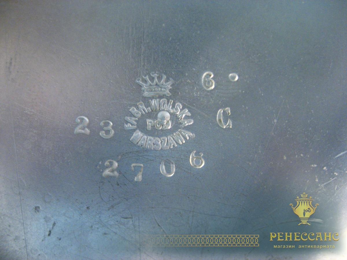 Сахарница старинная, серебрение, фабрики Wolska Варшава 19 века №808